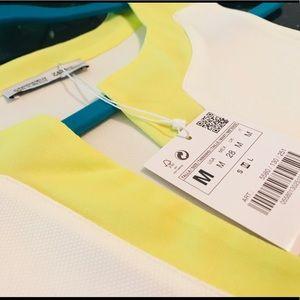 NWT Zara Crop Top in White & Lime Green